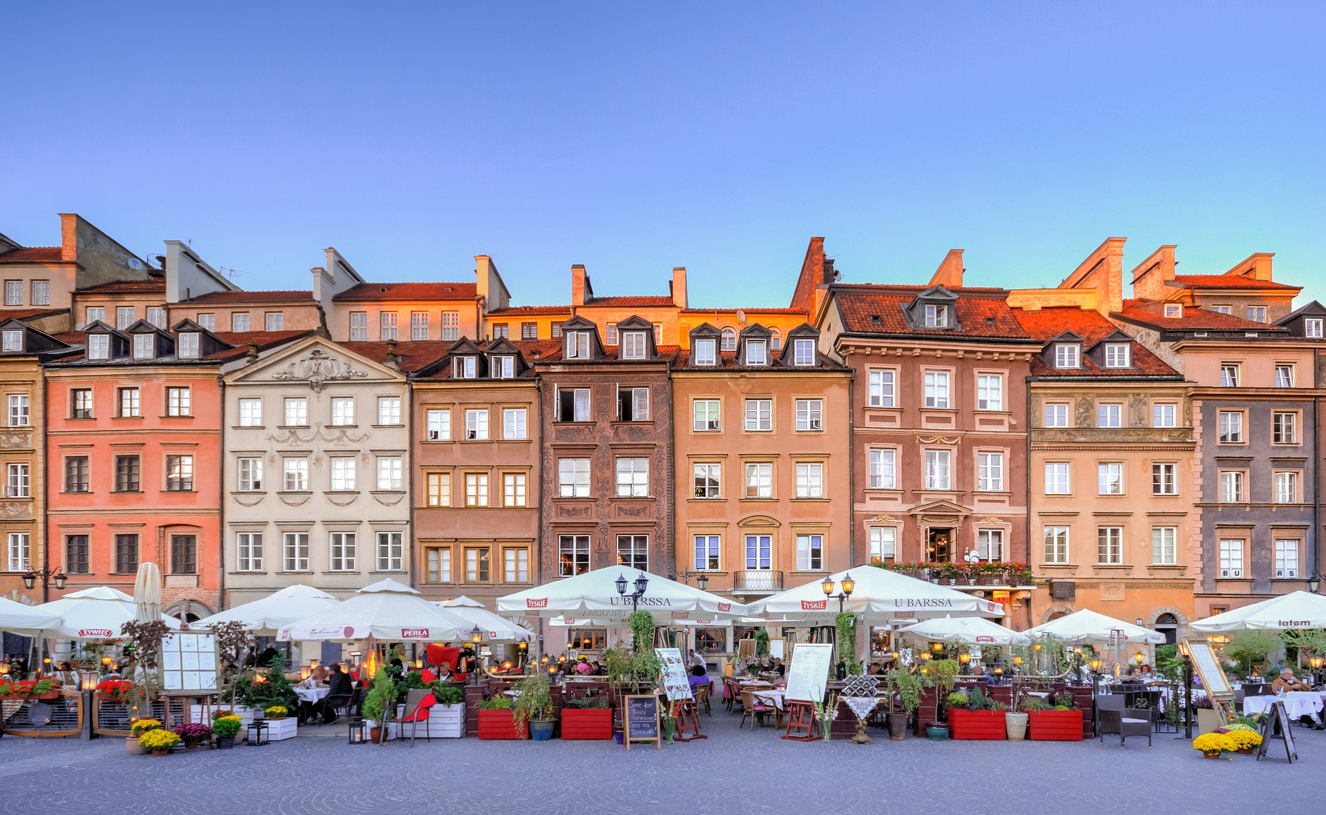 Classy view on old town in Warsaw, Poland