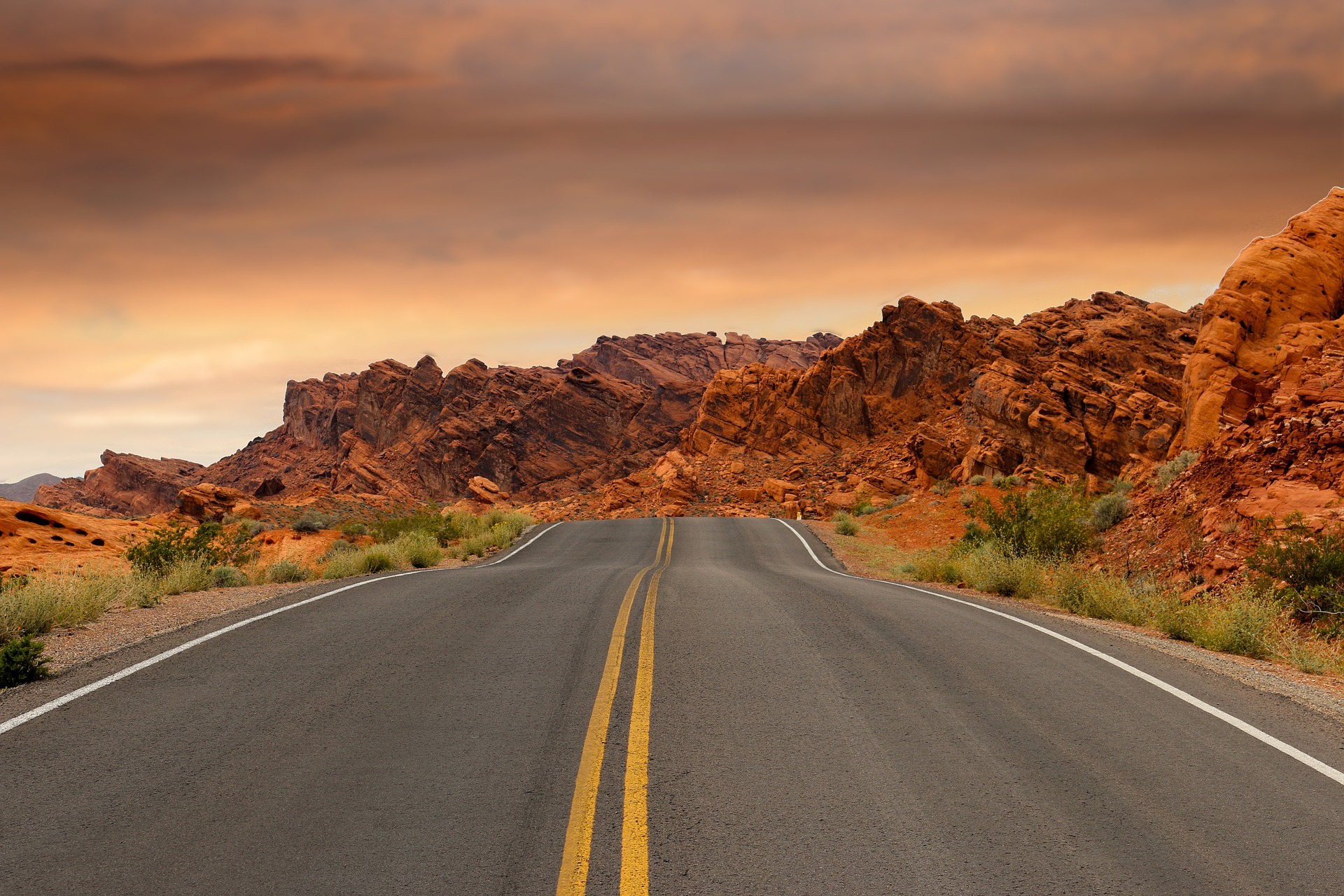 On the road surrounded by Red Rock Canyon Mountains, Nevada