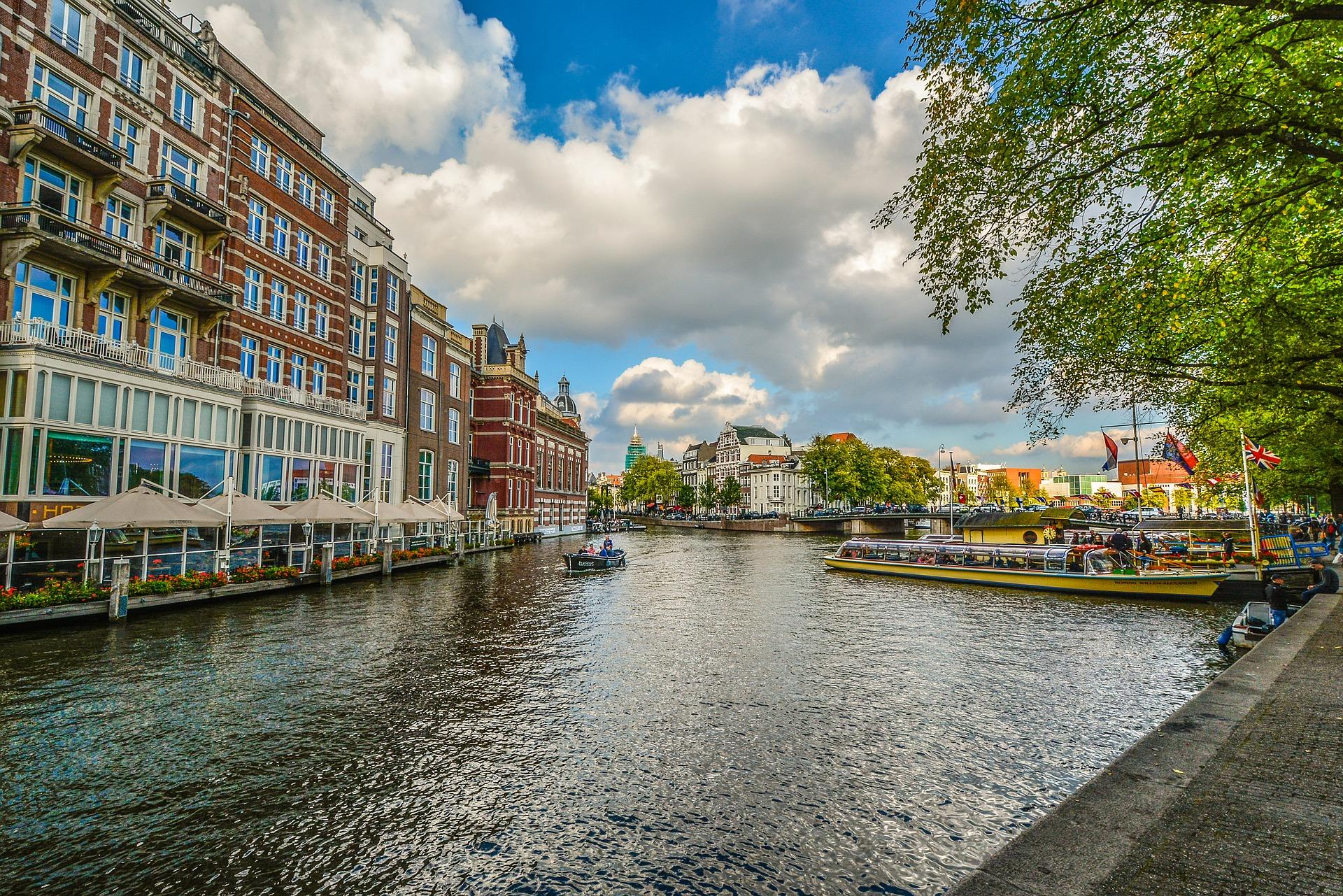 Long Walk along Canal, Amsterdam