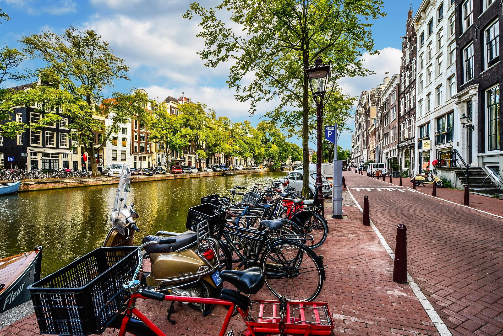 Beautiful walk on canal, Amsterdam