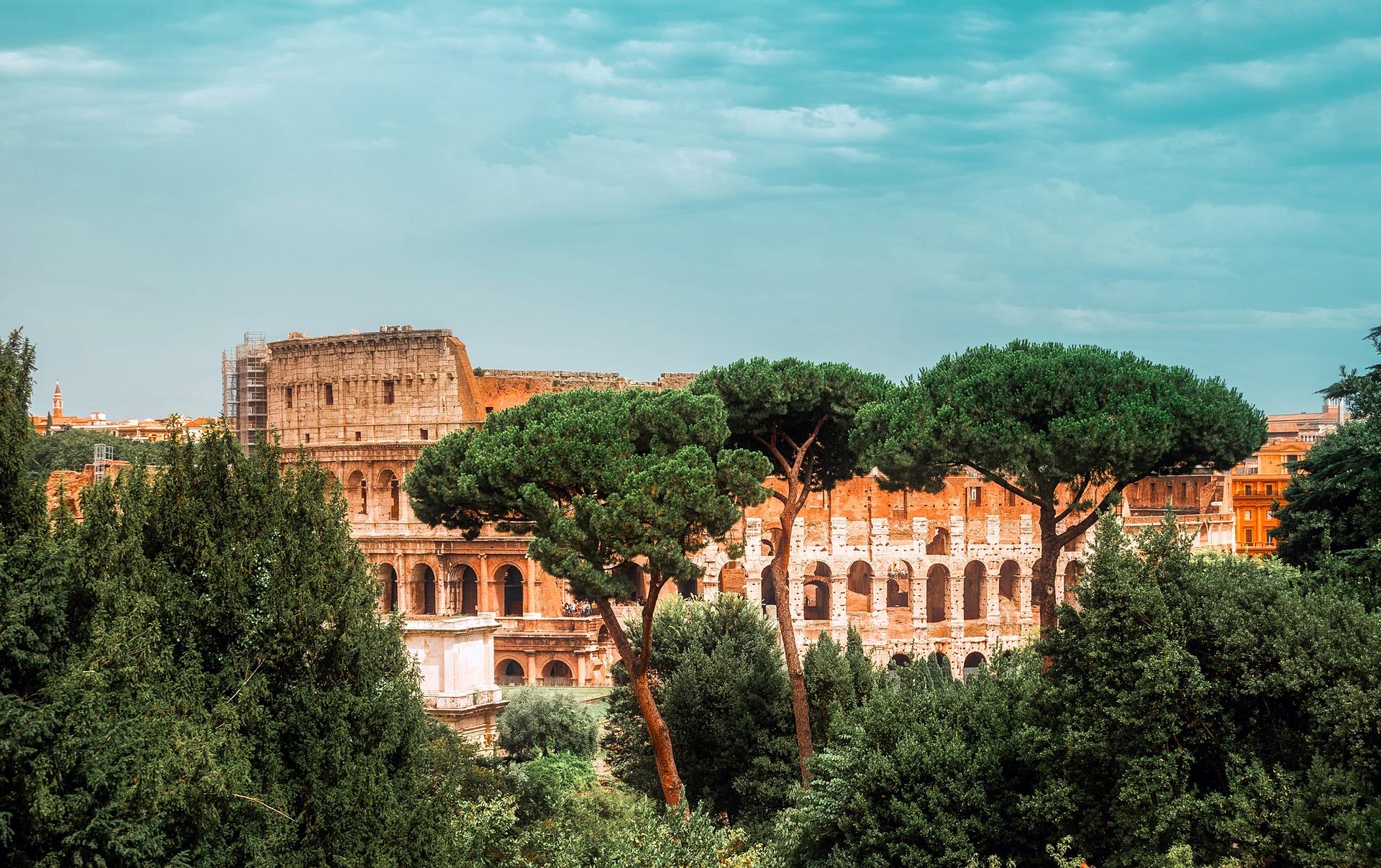 Historic Landmark view on Colosseum Rome, Italy