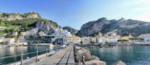 Magnificient front view on port of Amalfi Coast, Italy