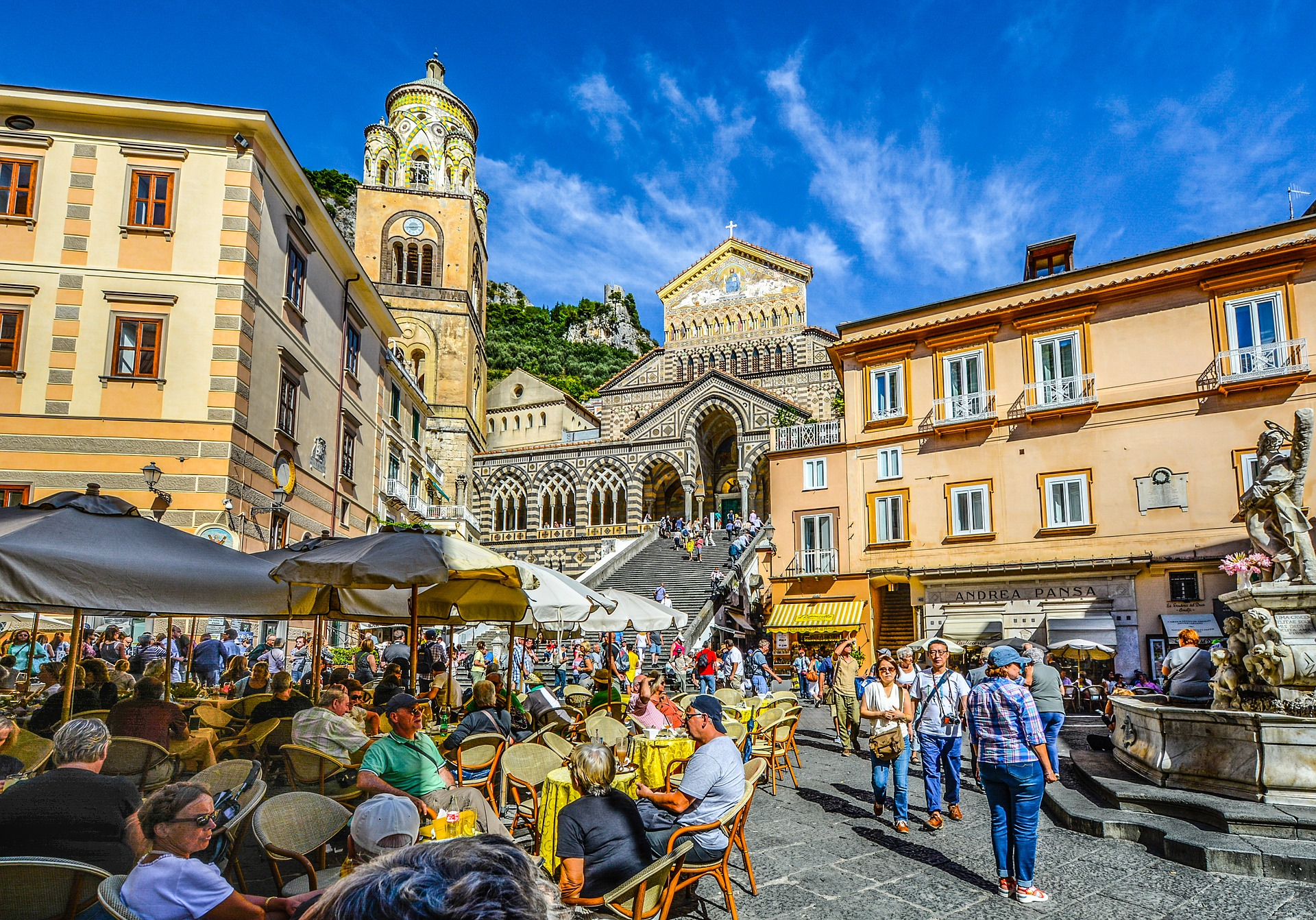 Summer flair in Amalfi Square, Italy