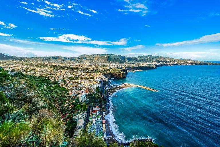 Grand view from the sky onto Amalfi Coast, Italy