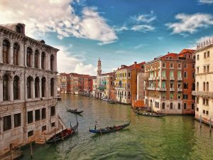 Appealing view on popular canal of Venice city, Italy