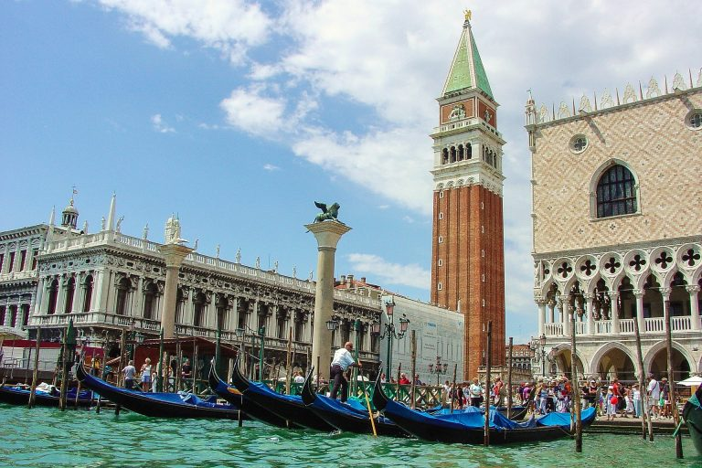 Summer time in Grand Canal of Venice city, Italy