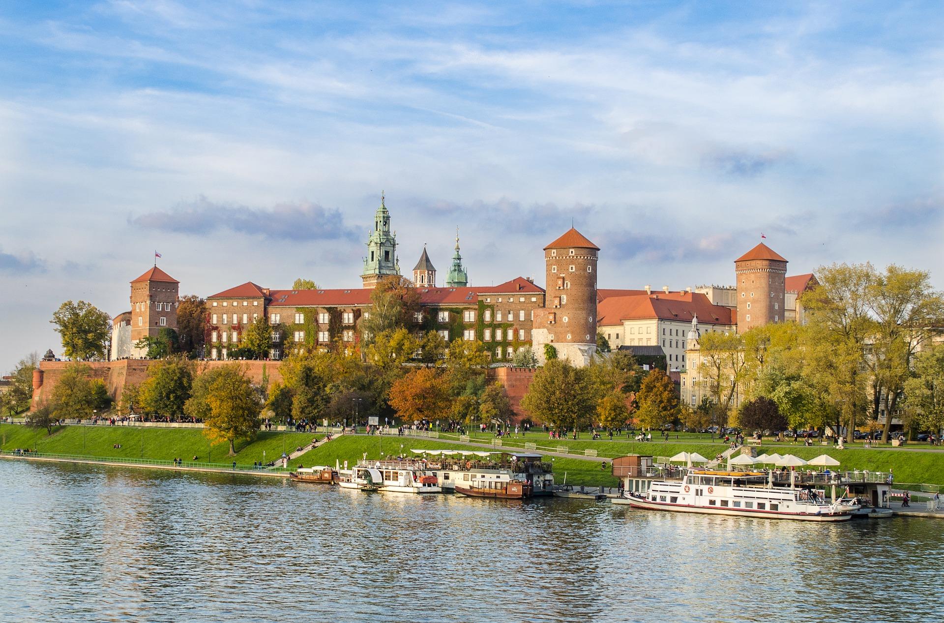 Beautiful view on Wawel Castle in Krakow, Poland