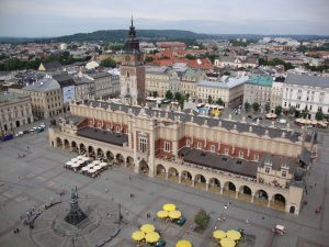 Magnificant view from Sky onto market in Krakau, Poland