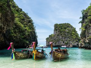Snorkling, beaches and resorts on Phi Phi Island, Thailand