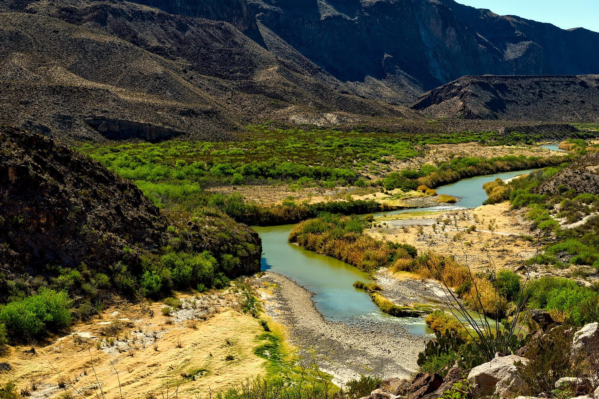 Beautiful view on landscape of Rio Grande River, Texas