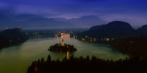 Amazing view at night onto Lake Bled, Solvenia