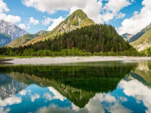 Appealing view on Jasna Lake, Slovenia