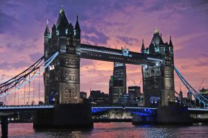 Amazing view at night on London Bridge, United Kingdom