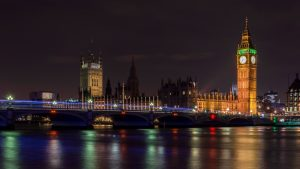 Appealing view at night on Big Ben in London, United Kingdom