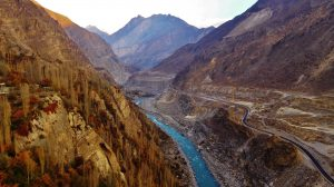 Amazing view on mountains and river in Pakistan