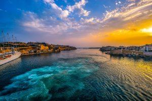 Beautiful warm sunset in Valletta, Malta
