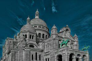 Appealing view on the Basilica of the Sacred Heart of Paris - Sacré-Cœur Basilica -, France