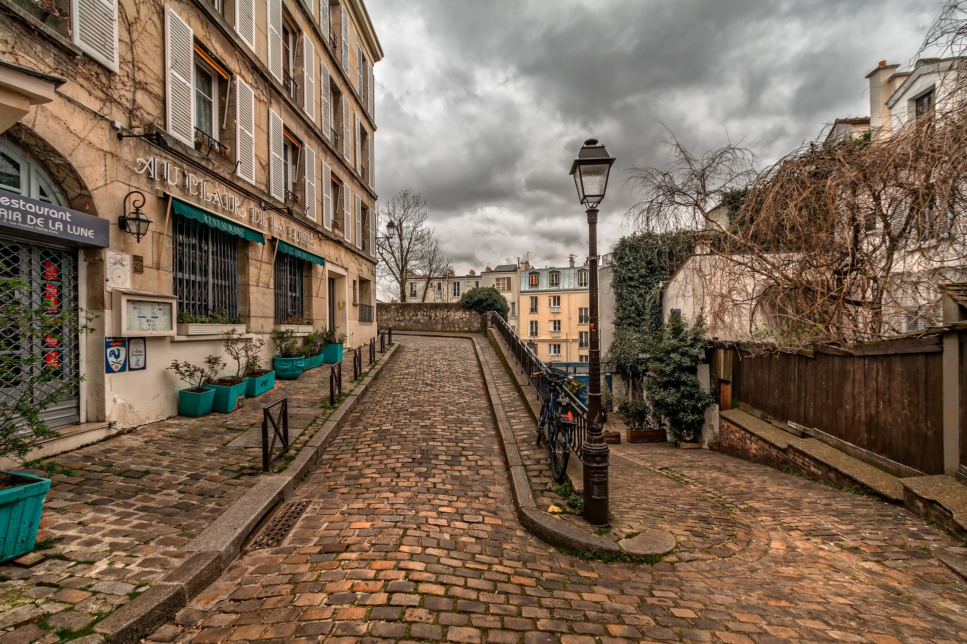 Adorable view on a street in Paris, France