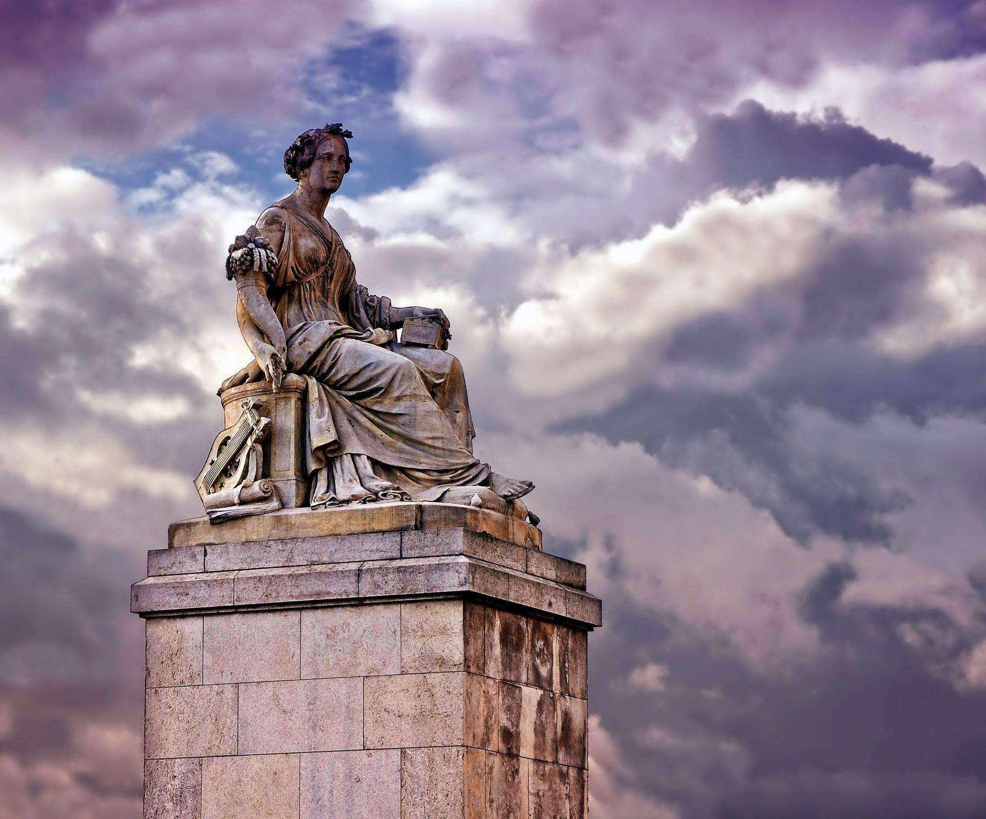 Symbolic view on monument sculpture of Saint Abundantia in Paris, France