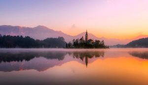 Adorable view on Slovenia Bled Island at Sunrise