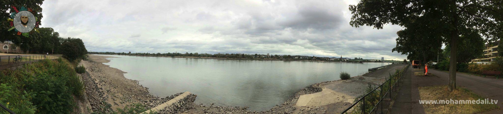 Breathtaking panoramic view on river rhine flowing through Bonn
