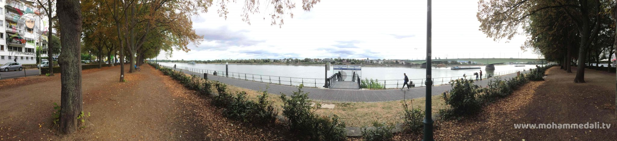 Breathtaking panoramic view on river rhine near Kennedy Bridge in Bonn