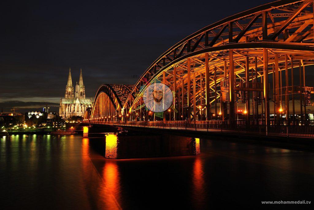 Cologne Bridge at night near Cologne Dome