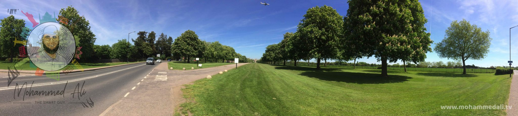 Panoramic view on Long Walk towards Windsor Castle