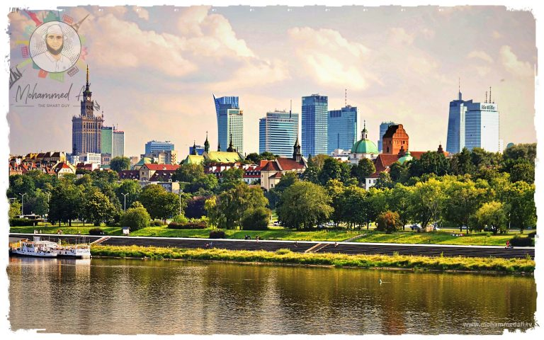Breathtaking view on skyline of Warshaw, Poland