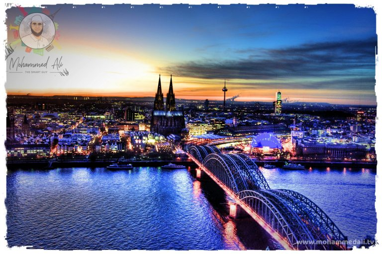The Hohenzollern Bridge in Cologne with an amazing view on the Cologne Dome