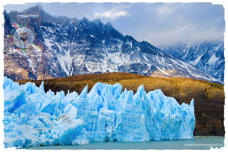 Climbing the mountain Patagonia at Cerro Torre on border of Argentina and Chile