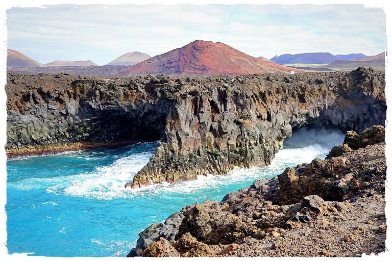 Beautiful views on rugged volcanic coastline in Lanzarote