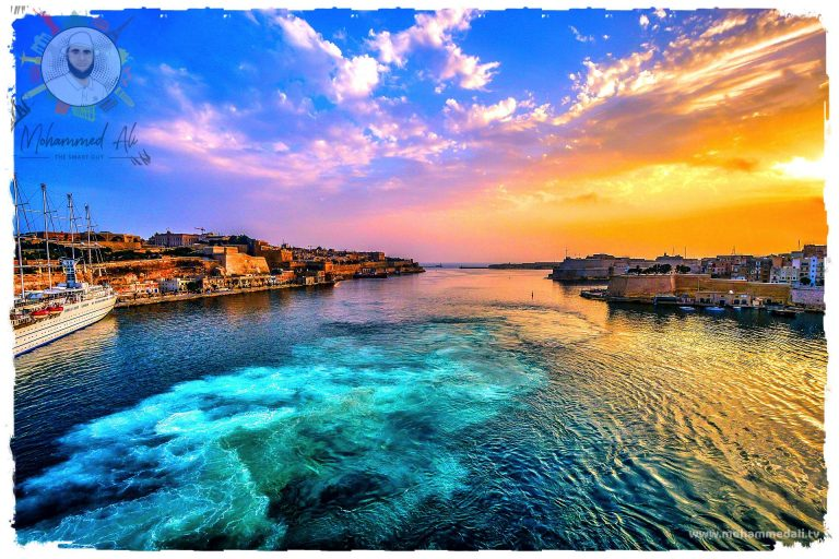 Beautiful view on the Valletta harbour in Malta