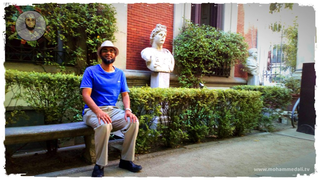 Sitting and relaxing in the garden of Museum Cerralbo in Madrid, Spain
