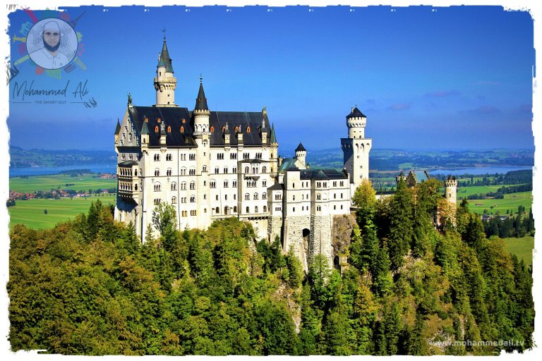 Impressive view on Neuschwanstein Castle, a 19th-century Romanesque Revival palace on a rugged hill above the village of Hohenschwangau