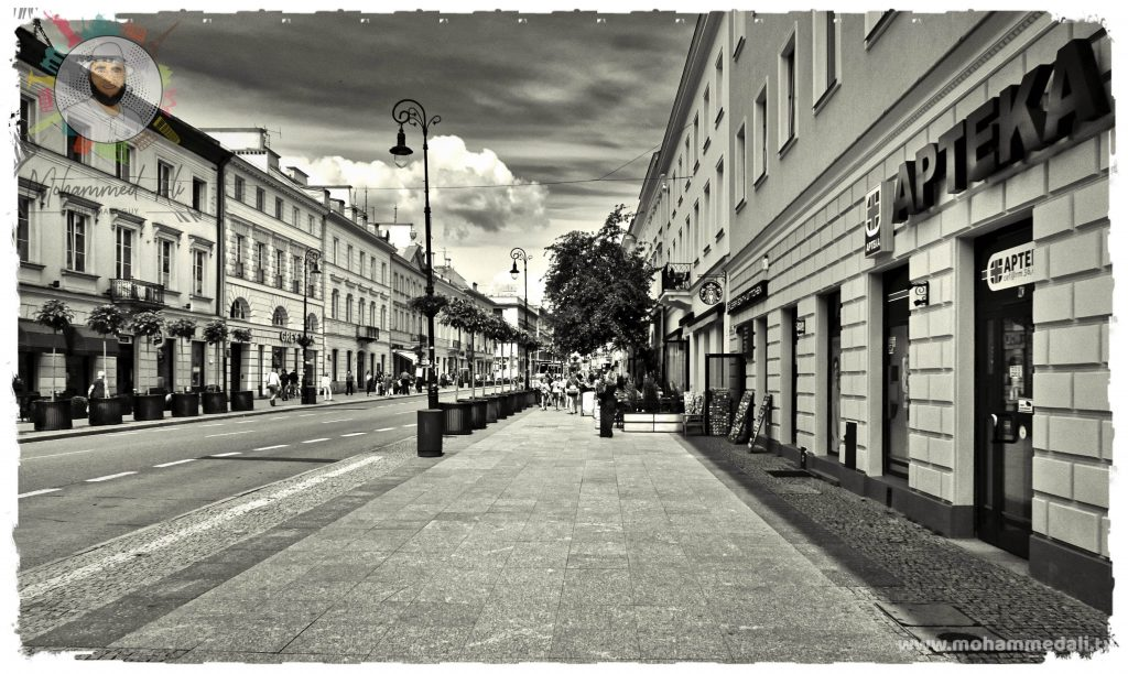 Walking along the streets in Warsaw of Poland