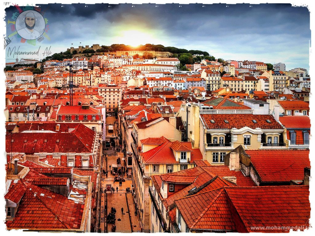 Beautiful scene of Lisbon in Portugal at Sunset