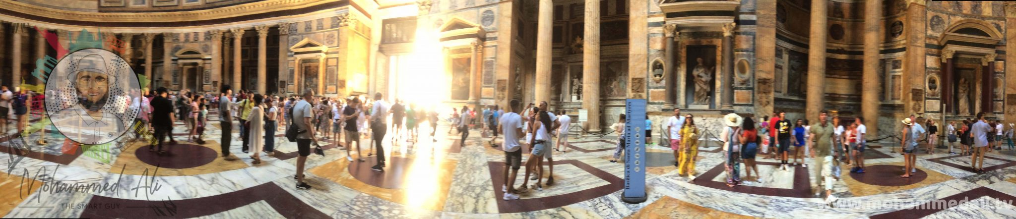 Spectacular natural light inside epic Pantheon in Rome, Italy