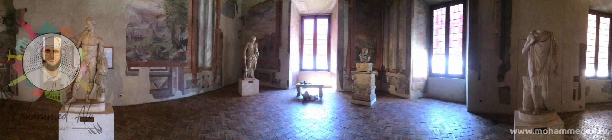 Panoramic view of the National Museum in Rome, Italy