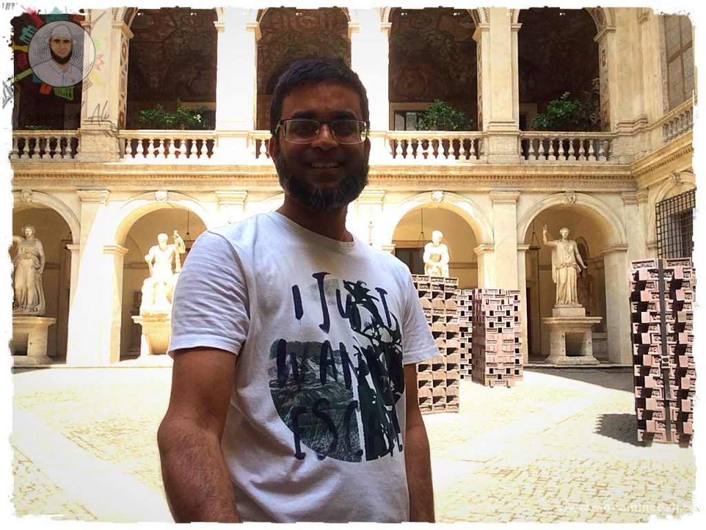 Standing in front of the 15th century Altemps palace in Rome