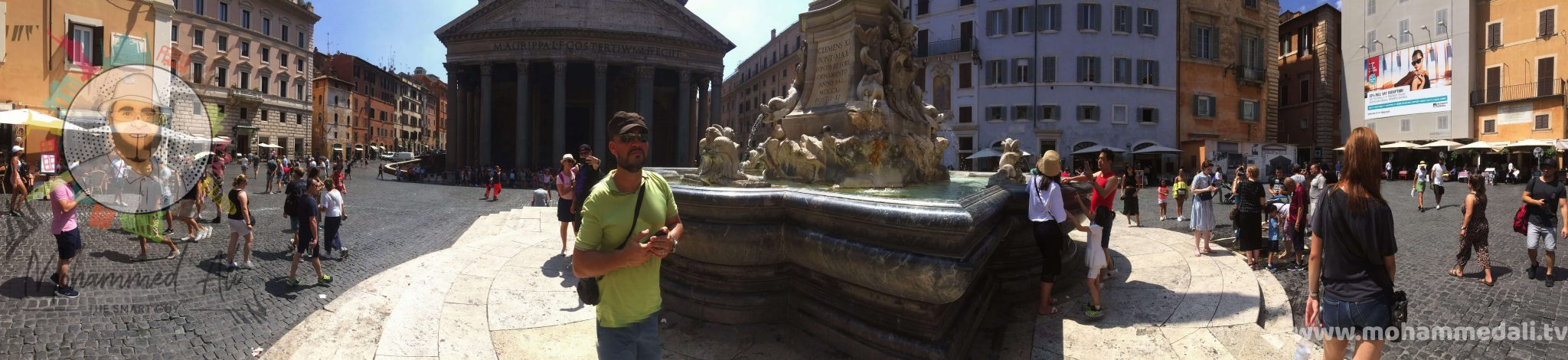 Panoramic view of Piazza della Rotonda in front of Pantheon in Rome