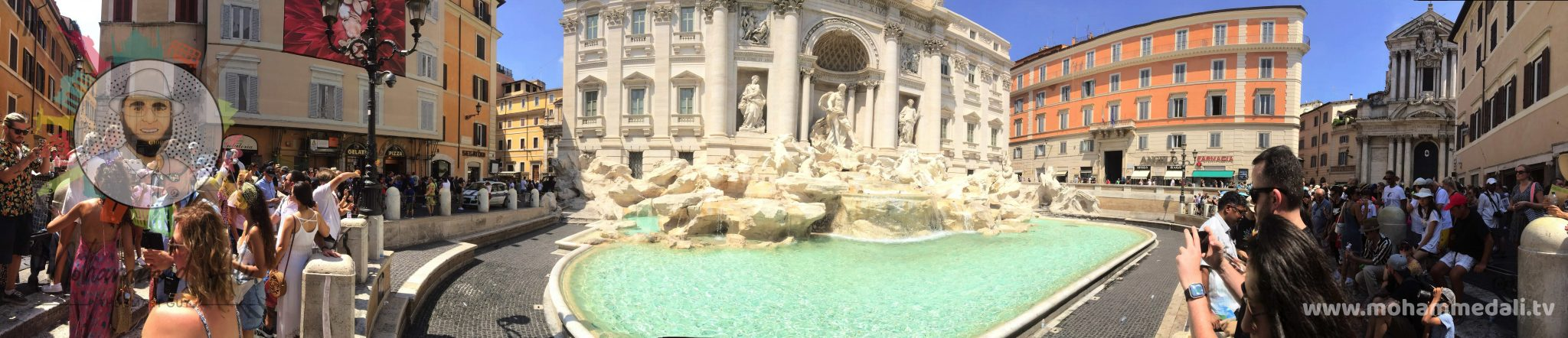 Amazing panoramic view on the Trevi Fountain in Rome, Italy