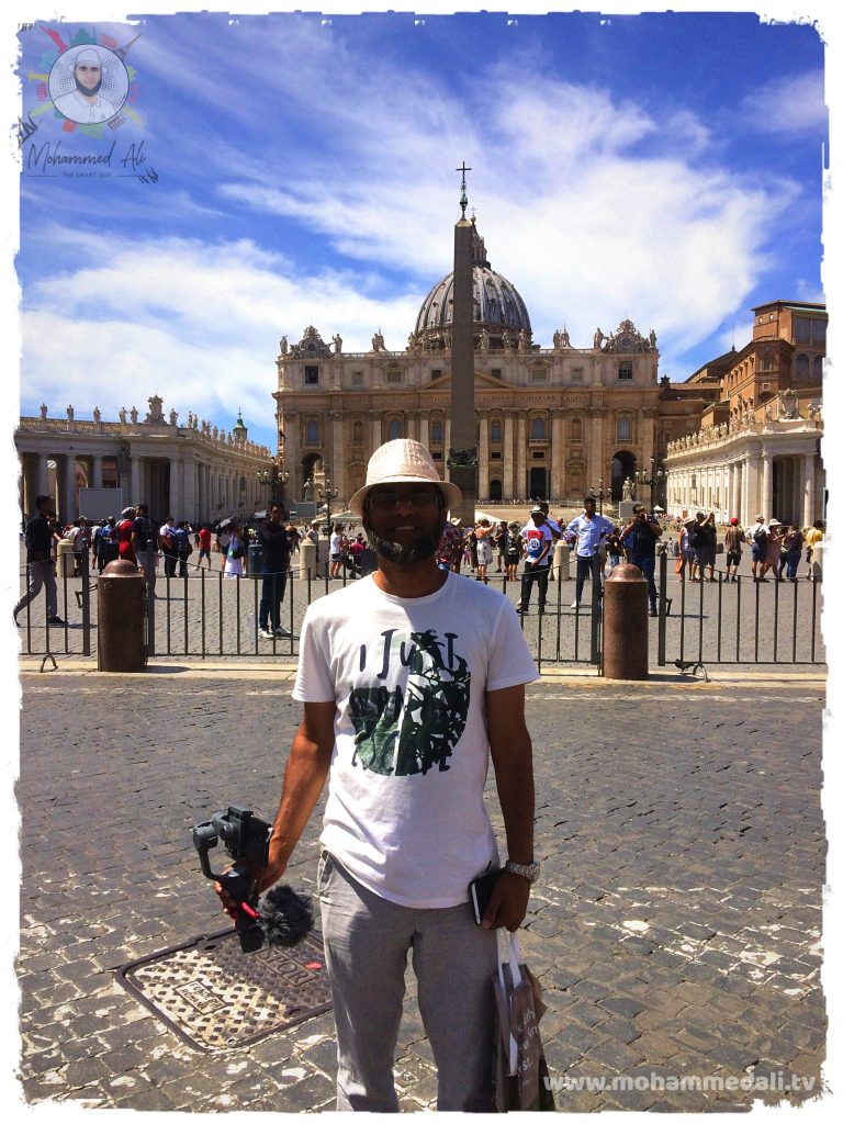 Standing in front of St. Peter's Square in Vatican City, Italy