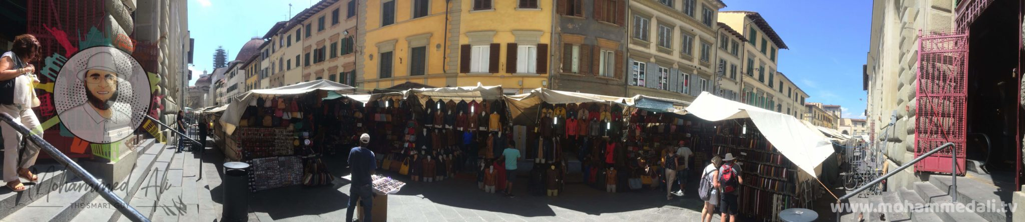 Panoramic view of San Lorenzo Market in Florence