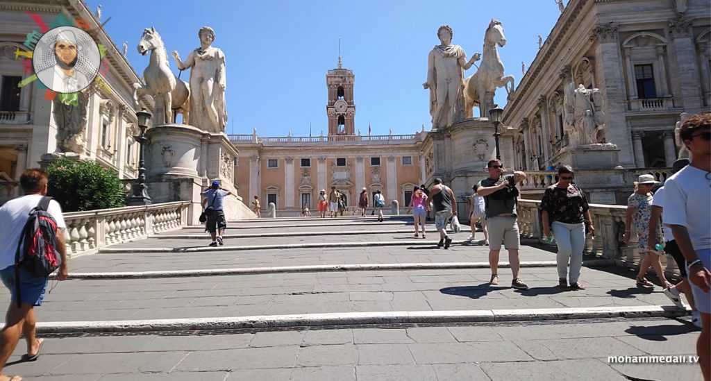 Walking towards the Capitoline Hill of Rome in Italy