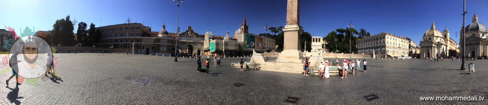 Vibrant people's square in Rome - Piazza del Popolo - in the summer days