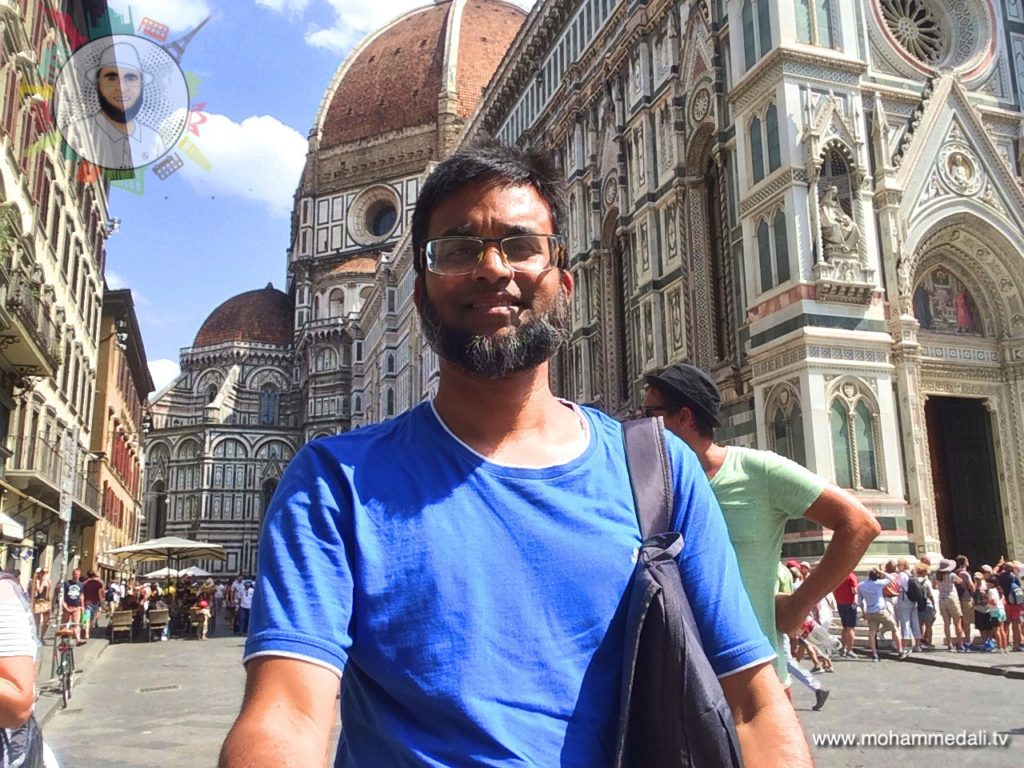 Standing in front of the Santa Maria del Fiore in Florence