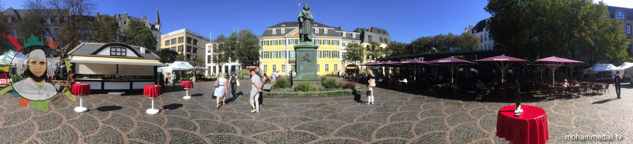 Amazing day out in the city of Bonn. View on Beethoven statue.